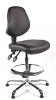 Juno Chrome Vinyl Medium Back Draughtsman Chair - Black2