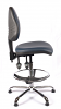 Juno Chrome Vinyl Medium Back Draughtsman Chair - DBlue1