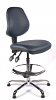 Juno Chrome Vinyl Medium Back Draughtsman Chair - DBlue2