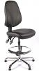 Juno Chrome Vinyl High Back Draughtsman Chair - Black2