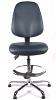 Juno Chrome Vinyl High Back Draughtsman Chair - DBlue3