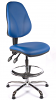 Juno Chrome Vinyl High Back Draughtsman Chair - LBlue2