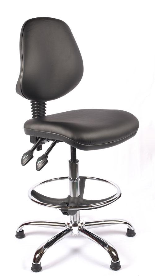 Juno Chrome Vinyl Medium Back Draughtsman Chair