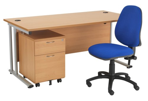 LITE - 1200mm Rectangular Desk and 2 Drawer Pedestal with Operator Chair