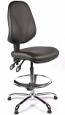 Juno Chrome Vinyl High Back Draughtsman Chair