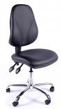 Juno Chrome Vinyl High Back Operator Chair