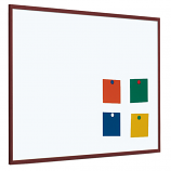 Single Sided Magnetic Whiteboard - Coated Steel with Dark Wood Frame