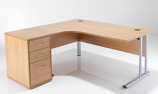 LITE - 1600mm Left Hand Crescent Desk and Pedestal