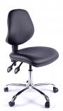 Juno Chrome Vinyl Medium Back Operator Chair