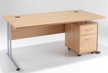 LITE - 1600mm Rectangular Desk and 2 Drawer Pedestal