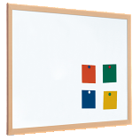 Single Sided Magnetic Whiteboard - Coated Steel with a 40mm Light Wood Frame