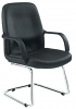Canasta Leather-Look Visitor Chair Chrome Base
