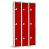Three Door Locker - Nest of 3 Red