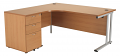 Smart - 1600mm Left Hand Crescent Desk and Pedestal Beech