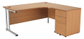 Smart - 1600mm Right Hand Crescent Desk and Pedestal Beech
