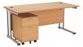 Smart - 1400mm Rectangular Desk and 2 Drawer Pedestal Beech