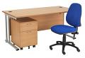Smart - 1200mm Rectangular Desk and 2 Drawer Pedestal with Operator Chair Beech