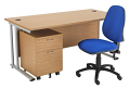 Smart - 1200mm Rectangular Desk and 2 Drawer Pedestal with Operator Chair Oak