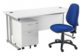 Smart - 1200mm Rectangular Desk and 2 Drawer Pedestal with Operator Chair White