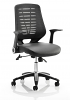 Relay Leather Office Chair Black Mesh Back