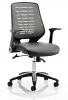 Relay Leather Office Chair Silver Mesh Back