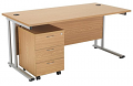 Smart - 1400mm Rectangular Desk and 3 Drawer Pedestal Oak