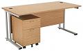 Smart - 1600mm Rectangular Desk and 2 Drawer Pedestal Oak