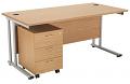 Smart - 1600mm Rectangular Desk and 3 Drawer Pedestal Oak