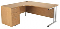 Smart - 1600mm Left Hand Crescent Desk and Pedestal Oak