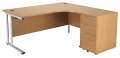 Smart - 1600mm Right Hand Crescent Desk and Pedestal Oak