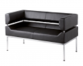 Benotto reception 2 seater chair 1270mm wide - black faux leather