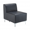 Quatro leather modular reception seating straight unit with back - black