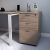 Essentials - 3 Drawer Desk High Pedestal (800mm Deep) Grey Oak