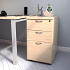 Essentials - 3 Drawer Desk High Pedestal (800mm Deep) Maple