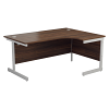 Essentials - 1600mm Right Hand Crescent Workstation Dark Walnut