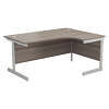 Essentials - 1600mm Right Hand Crescent Workstation Grey Oak