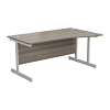 Essentials - 1600mm Right Hand Wave Desk Grey Oak