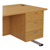 Essentials - 3 Drawer Fixed Pedestal Oak