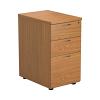 Essentials - 3 Drawer Desk High Pedestal Oak