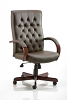 Chesterfield Executive Leather Chair With Arms Brown