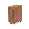 Impulse Narrow Under Desk Pedestal 3 Drawer Walnut