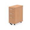 Impulse Narrow Under Desk Pedestal 3 Drawer Oak