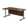 Essentials - 1600mm Left Hand Wave Desk Walnut
