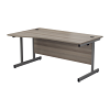 Essentials - 1600mm Left Hand Wave Desk Grey Oak
