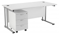 Smart - 1400mm Rectangular Desk and 3 Drawer Pedestal White