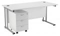 Smart - 1600mm Rectangular Desk and 3 Drawer Pedestal White