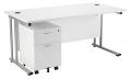 Smart - 1400mm Rectangular Desk and 2 Drawer Pedestal White