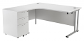 Smart - 1600mm Left Hand Crescent Desk and Pedestal White