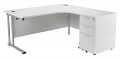 Smart - 1600mm Right Hand Crescent Desk and Pedestal White