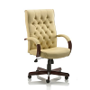 Chesterfield Executive Leather Chair With Arms Cream